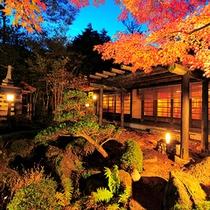 離れ庭園秋の夜
