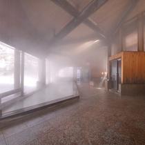 *冬の雪見パノラマ内風呂(男湯)