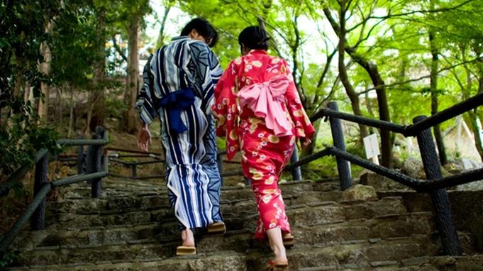 ≪カップル≫彼女に色浴衣&3つから選べる特典付き!恋結びの街で温泉デート