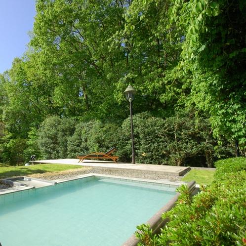 【露天風呂】森に囲まれた自然を眺めながらの湯浴みは解放感と相まっていっそう癒しの効果をもたらします。