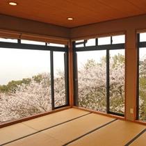 【桜の間】春には180度桜に囲まれ、その向こう側には雄大な瀬戸内海が広がる。