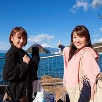 安田屋宿泊記念に富士山とバックに念写真