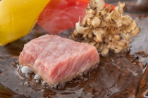 夕食 くまもと味彩牛の陶板焼き