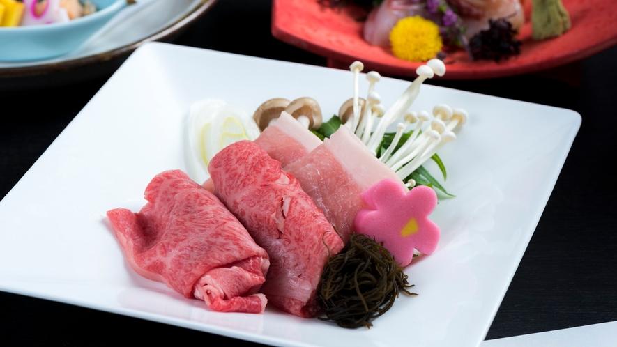 【〜庄内久遠会席〜山形牛と三元豚の相盛りしゃぶしゃぶ】山形の絶品ブランド肉を豚と牛で食べ比べ