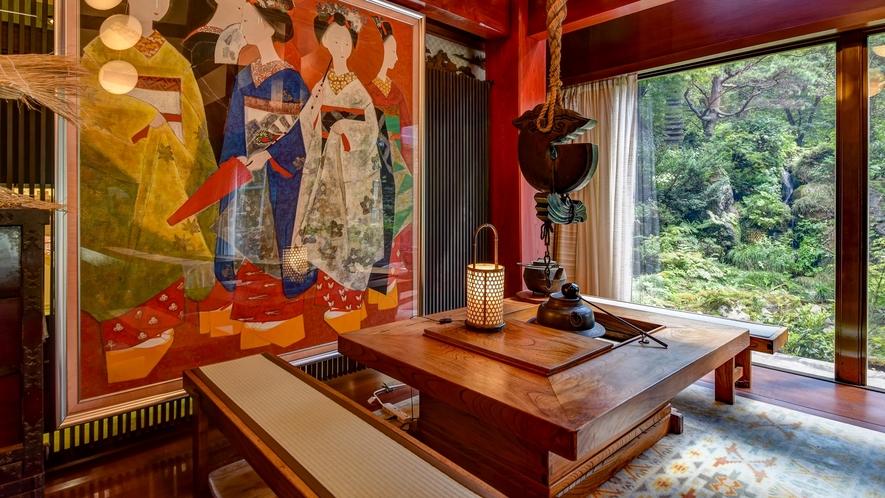 *■玄関ロビー■ロビーの大きな窓のそばには囲炉裏がございます♪囲炉裏を囲んでお茶でも一杯いかがですか