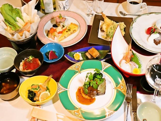 広島北ホテルの本格和洋折衷コース 一例