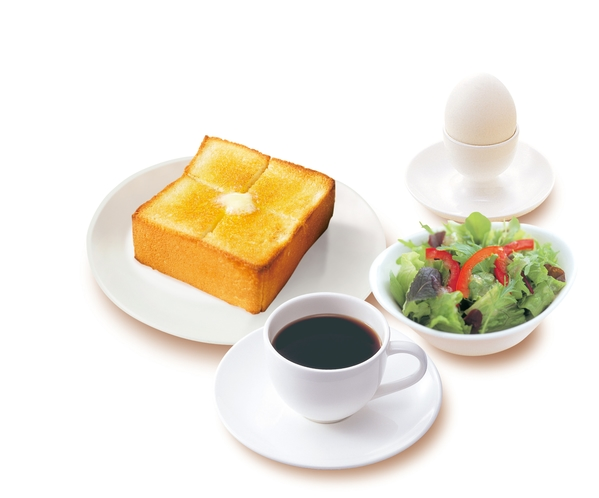 ゆで卵 & 厚切りバタートースト(モーニングサラダ付き)