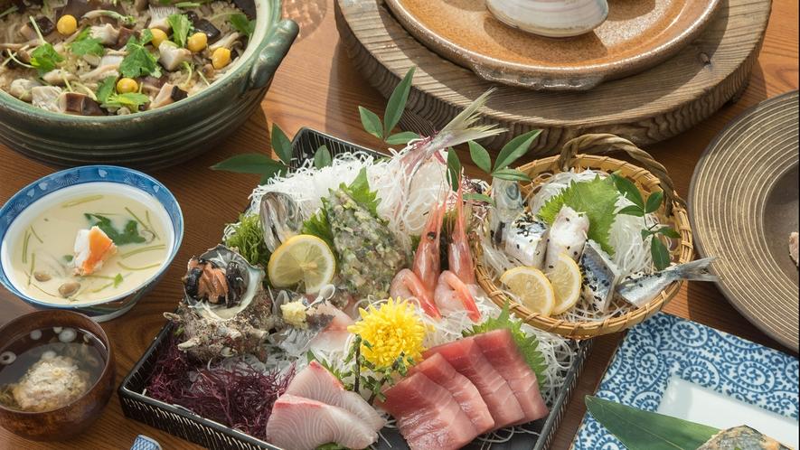 *太洋まる得プラン・和食コース/海鮮中心のディナーコースでございます