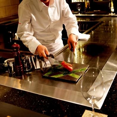 【日頃のご褒美に】鉄板焼きディナー「瑠璃コース」計8品☆レイトチェックアウト12時《2食付き》