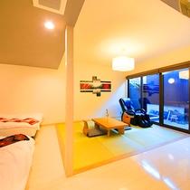 【露天風呂付き離れAタイプ】(63平米)全室離れ、温泉露天、マッサージチェア完備
