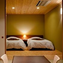 「船渡」和洋リビング12帖+ツインベッドルーム+テラス+半露天風呂 61㎡