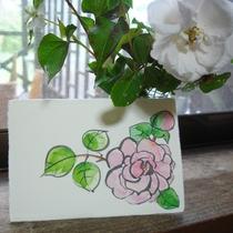 絵手紙 作品。雨に打たれてしまって可哀そうなのでバラを描きました。
