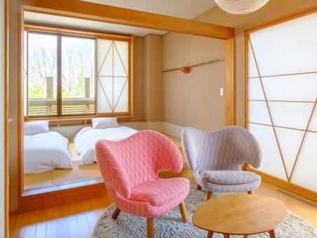 ☆寝室7畳半+リビング6畳☆半露天風呂付き特別室『花のあめ』