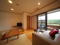 客室一例Aタイプ【和室9畳・半露天風呂付】ー「うさぎのさんぽ」客室
