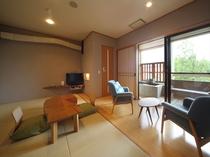 客室一例Aタイプ【和室9畳・半露天風呂付】ー『はっぱのおくりもの』客室