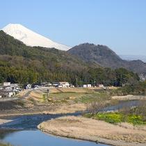 *展望風呂からの眺め/狩野川の清らかな流れ、そして富士山を見ながら温泉に入れます