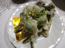 山菜や岩魚、地元の食材を使った盛りだくさんの料理1