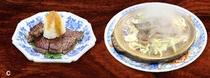 お肉 (ステーキ、陶板、すき焼き等のいずれか。お肉は新潟黒毛和牛です)