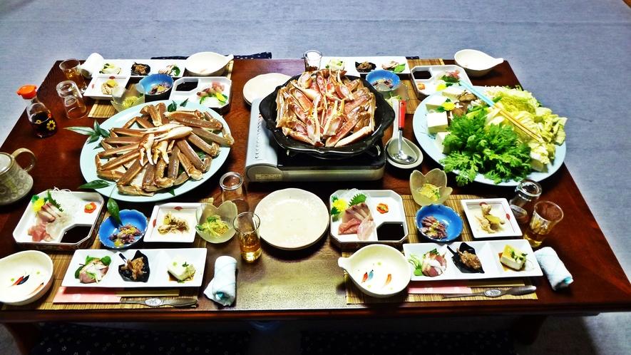 *【料理】カニ好きコース一例でございます。カニ鍋をメインに味わいたい方に♪〆はもちろん雑炊で♪