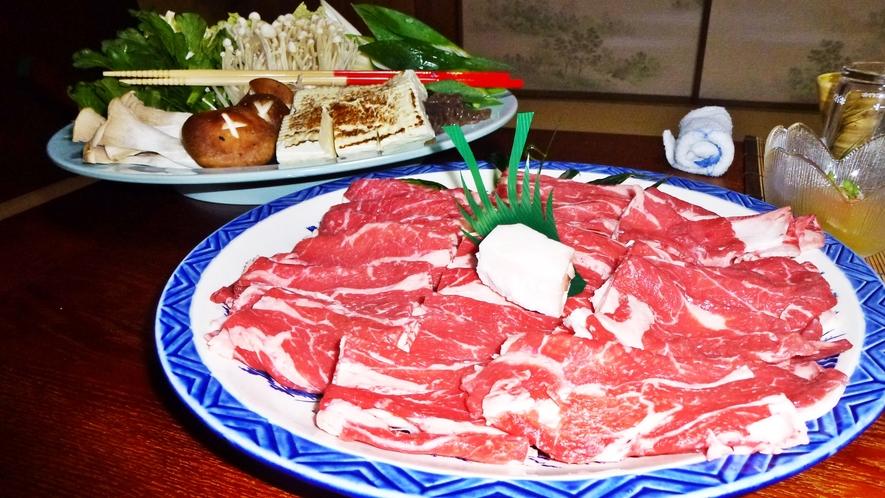 *【料理】すき焼き一例でございます。自家製野菜で食べるすき焼きは格別!