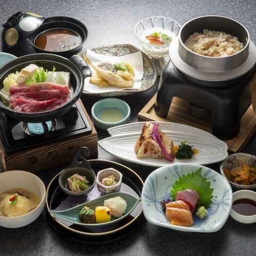 研修夕食:前菜・造里・焜炉・揚物・蒸し物・お食事・デザート