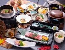 北海道産黒毛和牛の石焼き会席:先付け・前菜・造里・焼物・揚物・煮物他