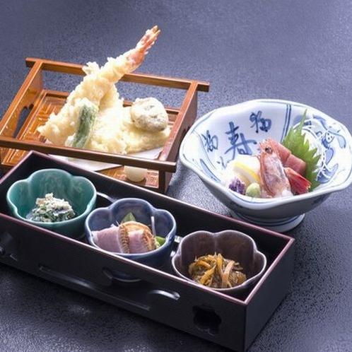 鍋のお供に3点セット(1人前1,265円)前菜・お造り・天ぷら