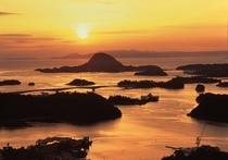 高舞登山から見える夕陽(ホテルより車で10分)
