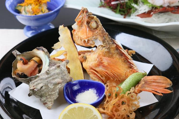 松コース☆サザエの壺焼き+カサゴの唐揚げ