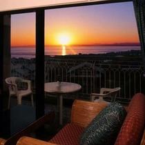 客室から見える夕日