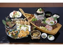 土佐の山海の料理を大皿に盛った豪快な郷土宴会料理『皿鉢』