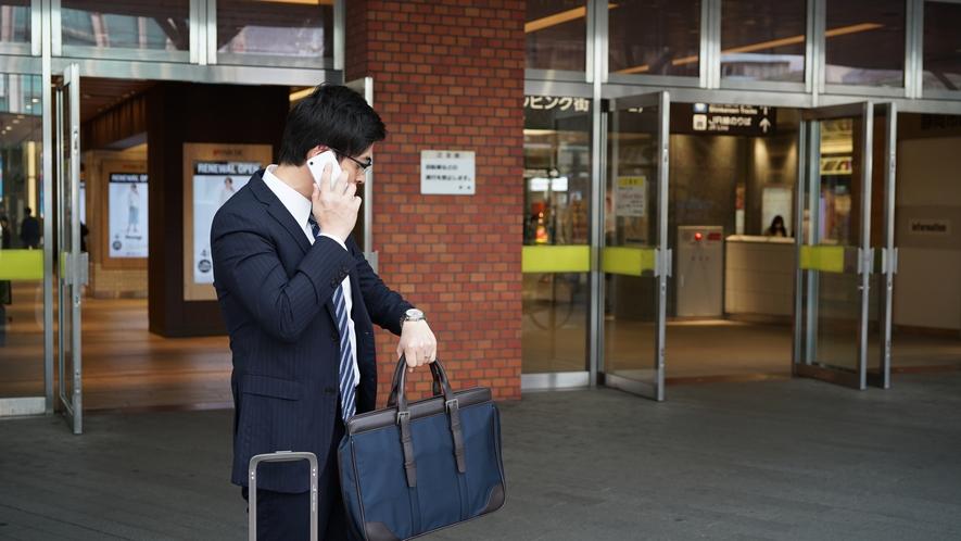 静岡駅到着。北口から電話で送迎車を呼びます。