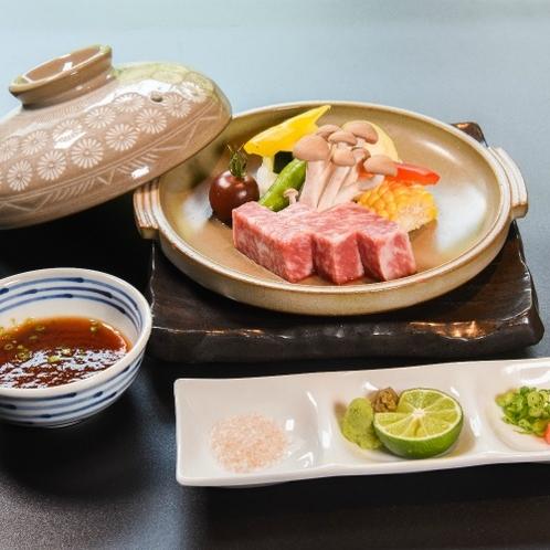 強肴_特選黒毛和牛と季節野菜のステーキ