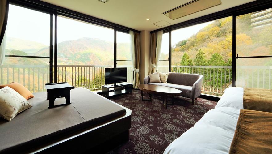 デイベッドでゆっくりと箱根の山々をお楽しみください(スイートルーム)