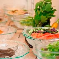 【朝食】うちなーのモズクや新鮮サラダで健康美人。