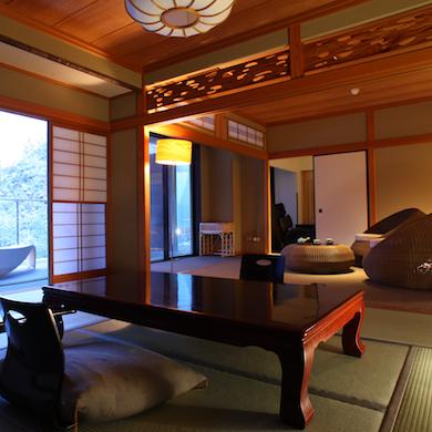 【みずばしょう】広々とした和室でゆとりの休日を。バルコニーからは箱根を四季を楽しめます。