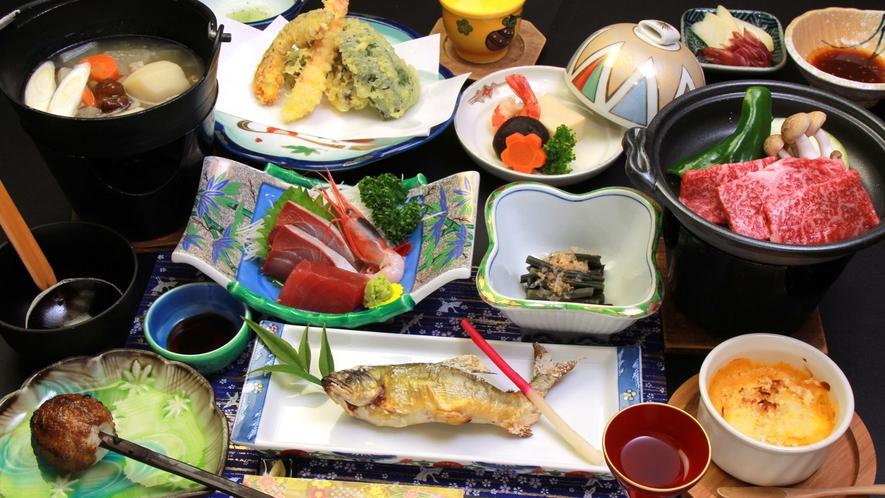 【會津の郷土料理】牛陶板焼きと地元産食材を使った夕食