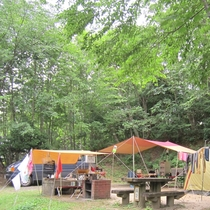 【オートキャンプ場】樹木でサイトを区画分け