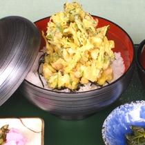 【あわび茸かき揚げ丼】吉和産のあわび茸を使用