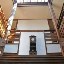 中央の柱時計