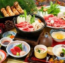 松茸と三ケ日牛のすき焼き