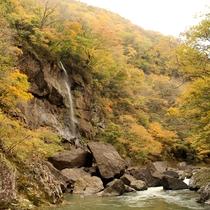 *【小原渓谷】遊歩道散策中に現れる「白糸の滝」も見所のひとつ。【当館から車で約10分】