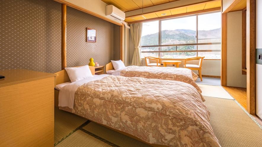 *【和洋室6畳】一人旅やビジネス、ご夫婦におすすめ。畳敷きのベッドを2台ご用意しております。