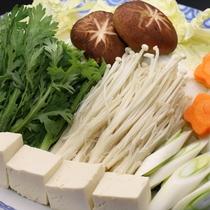 【夕食】しゃぶしゃぶ鍋 自家栽培で採れた野菜。
