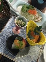 【2015年】冬会席 旬菜 鯛大根 鯛味噌掛け サーモンマリネ