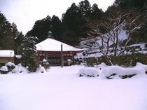 本堂・庭の雪景色