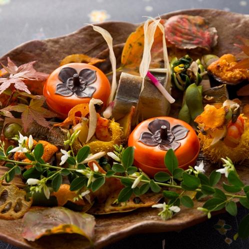 【2016秋のお料理(9月一例)】前菜の盛り合わせ。木の葉をイメージしたお皿の上に秋の訪れ。