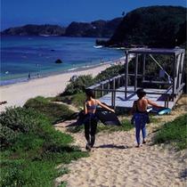 *【下田白浜中央海岸】白浜海岸の最北に位置する静かなビーチ。