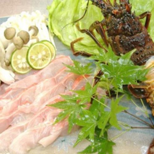 *【夕食例】伊勢海老と金目鯛の深層水しゃぶしゃぶ…海の幸に舌鼓。