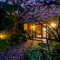 *桜の季節には、桜の花びら達が絨毯のようにエントランスを彩ります